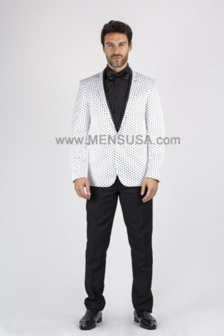Product# SM148 1 Button Style Slim narrow Style Polka Dot Suit ( Jacket and Pants)  For Men With Peak Lapel White