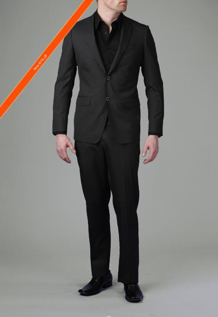 2-Button Liquid Liquid Jet Black Modern Slim narrow Style Suit