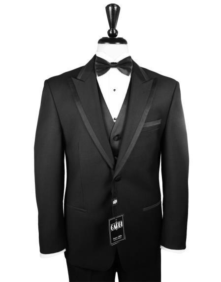 Product# KA5560 2-Button Peak 1920s tuxedo style - Liquid Jet Black