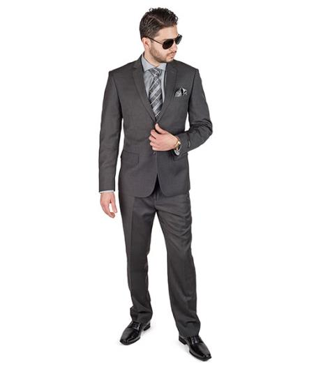 2 Button Charcoal Grey Suit