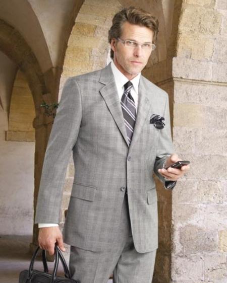Product# GRY8221 2 Btn Flat Front Pants Glen Plaid, Side Vents, Superior Fabric 150's Pick Stitch Suit