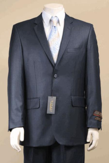 Product# KA5518 Big and Tall Size 56 to 72 2-Button Suit Textured Patterned Sport Coat Fabric Navy Blue Shade