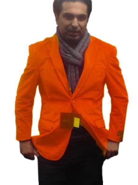 2 Btn Notch Collar Single-Breasted Fully Lined Velvet ~ Velour Blazer Online Sale Orange