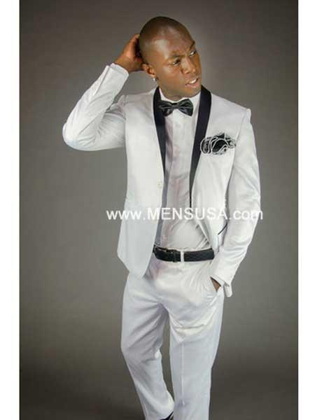 1 Button Style Slim narrow Style Polka Dot Suit ( Jacket and Pants)  For Men With Peak Lapel White