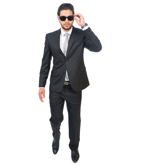2 Button Style Notch Lapel Double Vented Slim narrow Style Fit Semi Shiny Flashy Liquid Jet Black Fabric Suit Clearance Sale Online