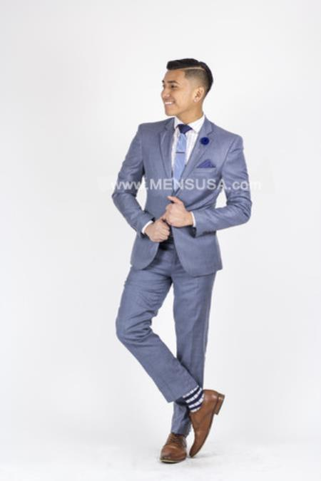 SM136 2 Button Style Slim narrow Style Fit Notch Lapel Suit With Center Vent Light Blue