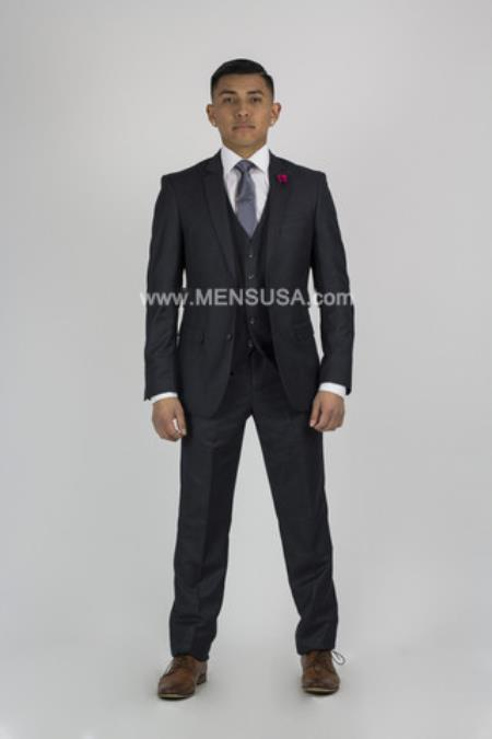 2 Button Slim Fit Suit Charcoal