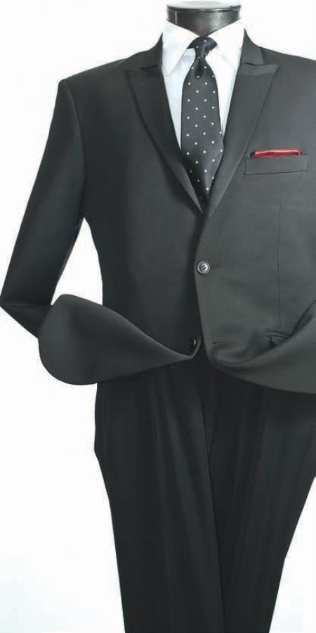 Product# JV7839 Vittorio St. Angelo 2 Piece Slim narrow Style Suit - Narrow Peak Lapel Liquid Jet Black