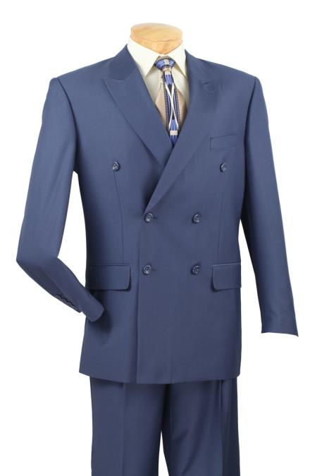 RD6790 2 Piece Cobalt ~ Indigo~Teal ~ indigo Blue (Slate) Suit - Double Breasted