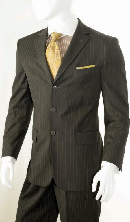 Product# KA5287 2 Piece Classic Big And Tall Mens Suits - Pinstripe brown color shade