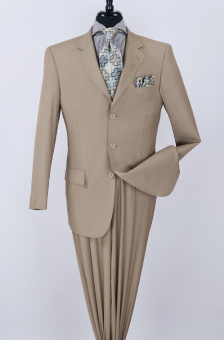 2 Piece Classic Suit - Pinstripe Camel ~ Khaki