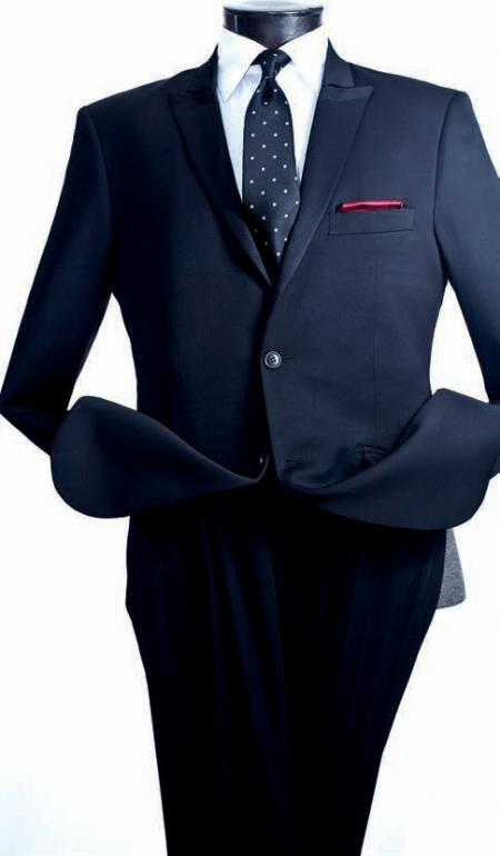 Product# VQ4538 Vittorio St. Angelo 2 Piece Slim narrow Style Suit - Narrow Peak Lapel Navy