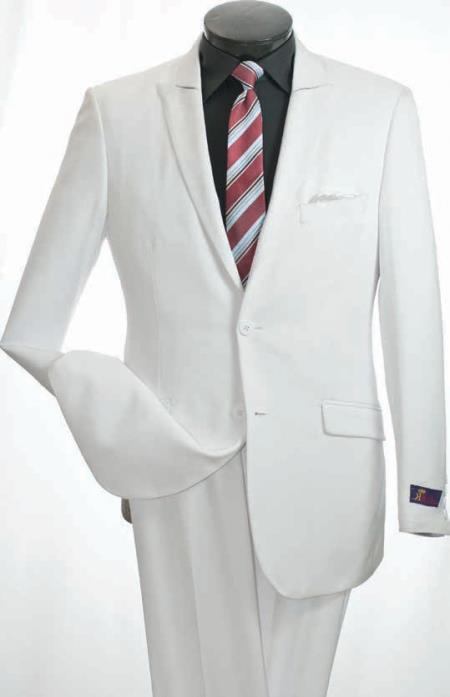 Product# KS6783 Vittorio St. Angelo 2 Piece Slim narrow Style Suit - Narrow Peak Lapel White