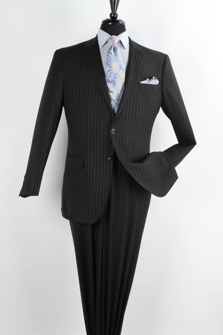 Product# KR4528 2 Piece Wool Fabric Executive Suit - Peak Lapel Liquid Jet Black with Chalk Stripe ~ Pinstripe