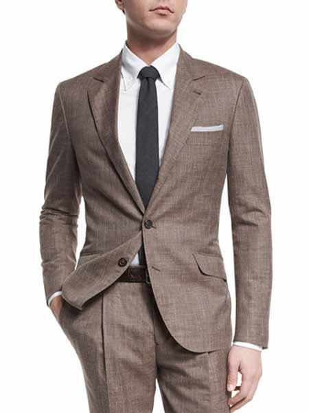 JSM-301 Men's Taupe 2 Button Single Breasted Notch Lapel Wool Blend Textured Suit