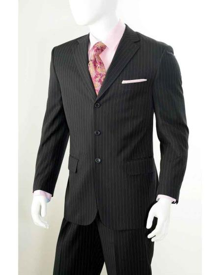 Product# SM672 Three button Notch Lapel 2 Piece Liquid Jet Black Banker Chalk Pinstripe ~ Stripe Athletic Cut Pleated Slacks Pants