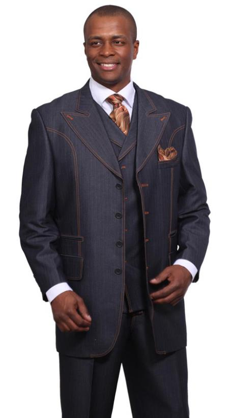 Product# GT27 3 Piece 37Inch Length Denim Suit For sale ~ Pachuco Mens Suit Perfect for Wedding with Wide Lapels 1920s 40s Fashion Clothing Look !  Blue