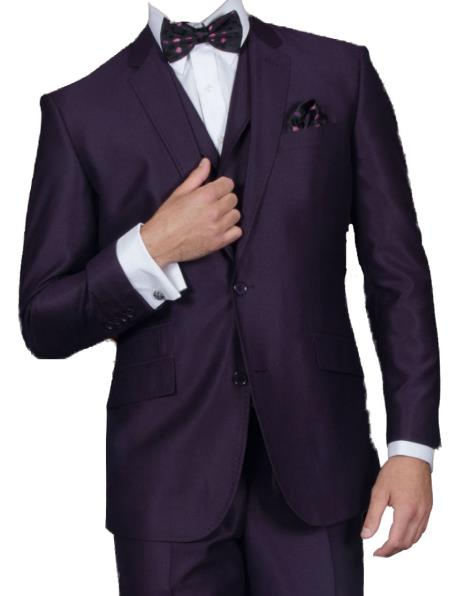 Product# KA6478 3 Piece Sharkskin Suit Flat Front Pants Shiny Flashy Satin Silky Metallic–Very Dark Purple color shade