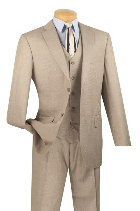 3 Piece Wool Fabric Feel Classic Suit– Wheat Sand Khaki Beige