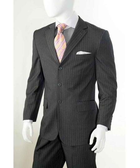 Three button Grey Banker Chalk Pinstripe ~ Stripe Notch Lapel Athletic Cut Pleated Slacks Pants