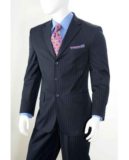 Navy Three button Notch Lapel Banker Chalk Pinstripe ~ Stripe Athletic Cut Pleated Slacks Pants