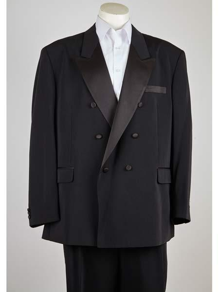 Product# SM1013 Peak Lapel 6 Button Liquid Jet Black Double Breasted Closure Classic Fit Suit