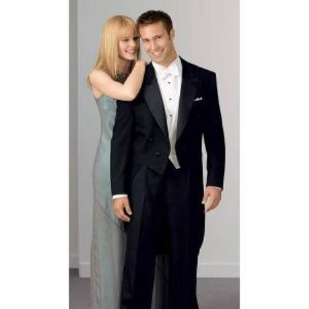 Product#MK2021 Notch Collar 6 Buttons Pleated Slacks Pants Peak Tailcoat Liquid Jet Black - Matching Trousers Available - 100% Wool Fabric