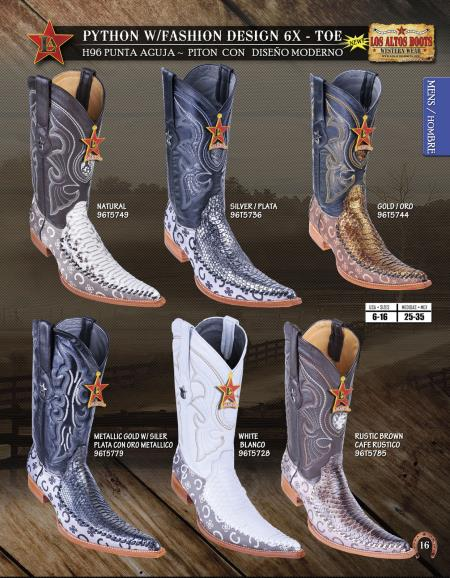 Product#HNG10 Authentic Los altos 6X Toe Genuine Python ~ Snake Western Cowboy Boots