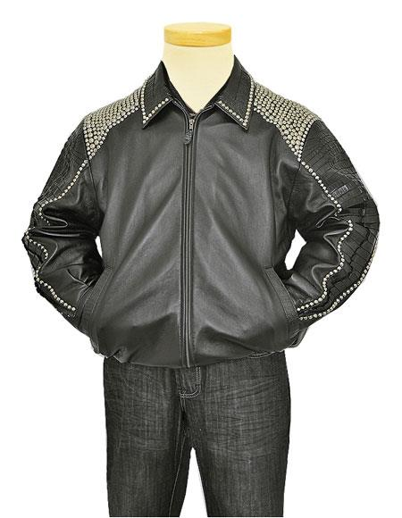 Product# GD996 G-Gator Men's Genuine Hornback Alligator Tails Black Jacket With Metal Studs