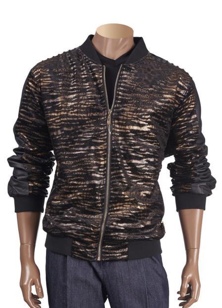Product# SM4451 Men's Animal Print Black Zipper Closure Short Jacket with Trim