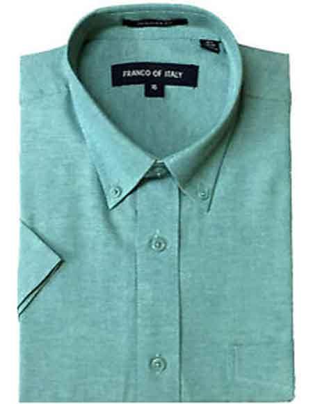 Product# SM1056 Men's Aqua Basic Button Down Short Sleeve Summer Wear Oxford Dress Shirt