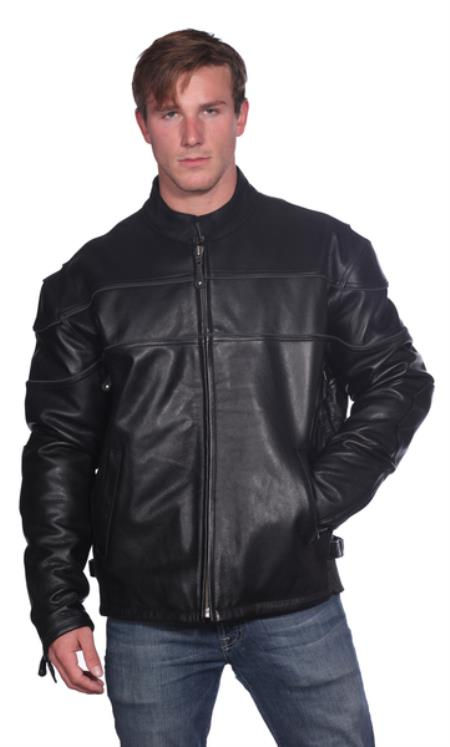 Astor Leather Jacket Liquid Jet Black Available in Big and Tall Sizes