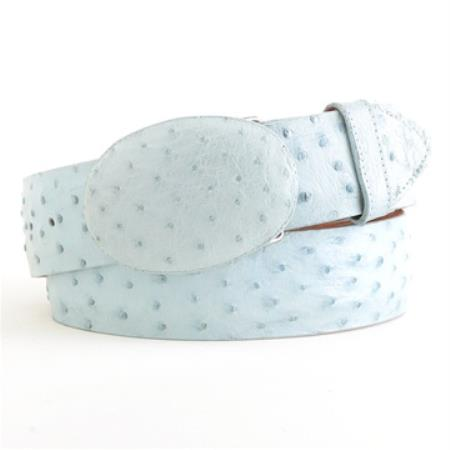 Product# YU15 Baby Blue Ostrich Belt