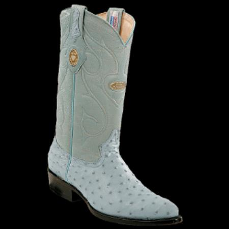 Product#KA0701 New Reg: $795 discounted Online Sale clearance diamonds Boots- Ostrich J-Toe Cowboy Boots- Blue Jean