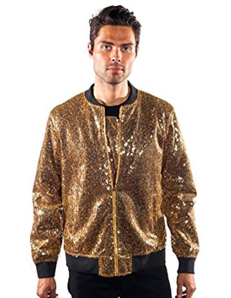 men's barabas galm gold Unique Shiny Flashy Fashion Prom Sequin Blazer ~ Suit Jacket Available in Big and Tall Sizes Perfect For Prom Clothe - Prom Outfits For Guys