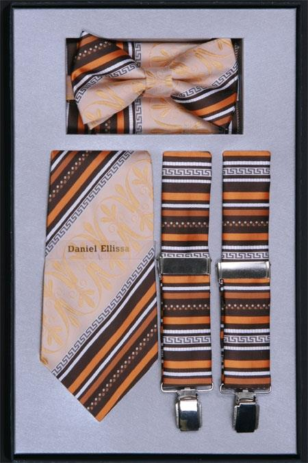Product# VT91 Suspender, Tie, Bow Tie ~ Bowtie and Hanky Set Beige