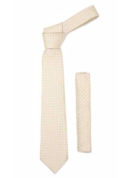 Geometric Design Beige Necktie
