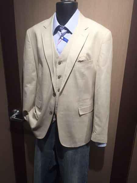 Beige Men's Notch Lapel