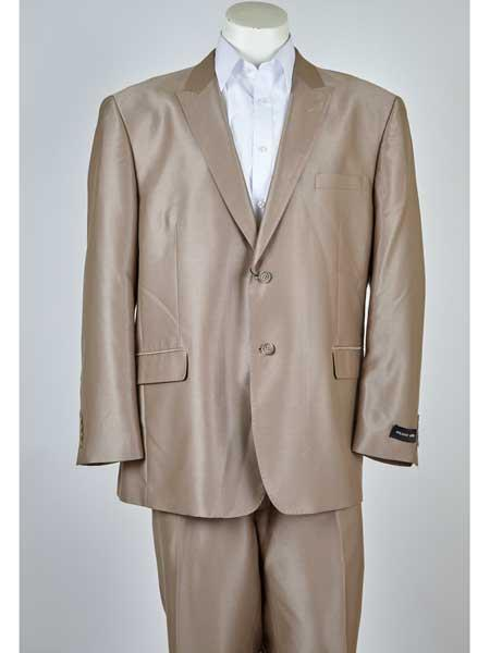 Beige Classic Fit Notch Lapel 2 Button Style Single Breasted Suit