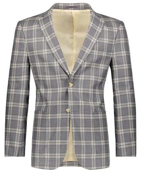 Beige/Gray Slim Fit Plaid