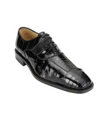 Product#GB9844 Belvedere attire brand Men's Liquid Jet Black Genuine Ostrich & Eel