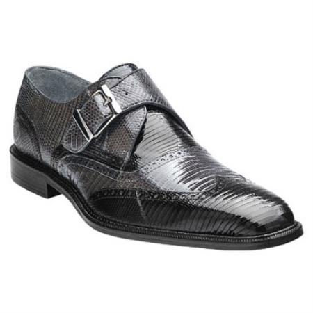 Product#PN94 Belvedere attire brand Pasta Lizard Wingtip Monk Strap Shoes for Online Liquid Jet Black / Gray