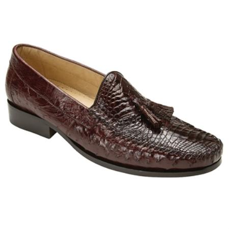 Product# HG5200 Belvedere attire brand Men's brown color shade Genuine cai ~ Alligator skin & Ostrich Slip On ~ Loafer style
