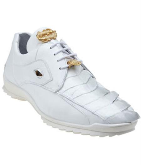 Product# MK384 Belvedere attire brand Vasco Hornback & Calfskin Sneakers White