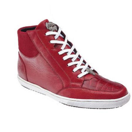 Product# SA8427 Belvedere attire brand Franco Crocodile & Soft Calfskin High Top Sneakers red color shade