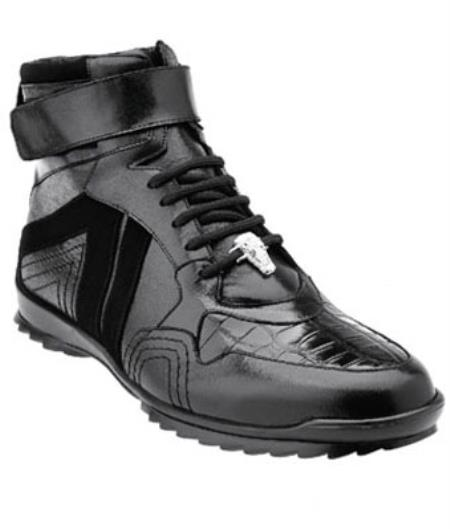 Product# MK364 Belvedere attire brand Rino Crocodile Suede & Calfskin High Top Sneakers Liquid Jet Black