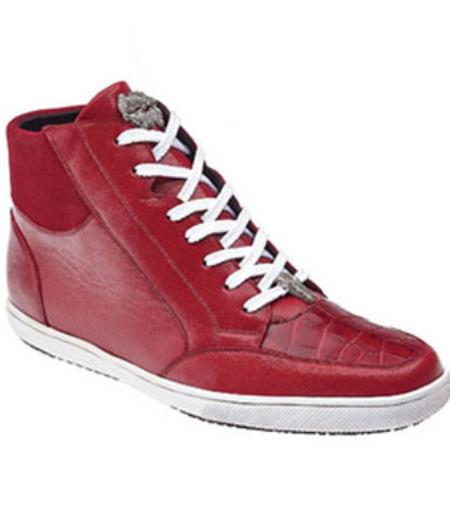 Product# MK393 Belvedere attire brand Franco Crocodile & Soft Calfskin High Top Sneakers red color shade