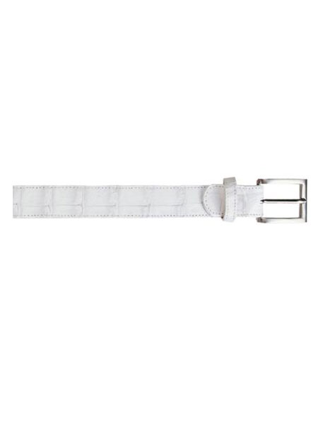 Belvedere attire brand All-Over Genuine Hornback Crocodile ~ Alligator skin Belt White
