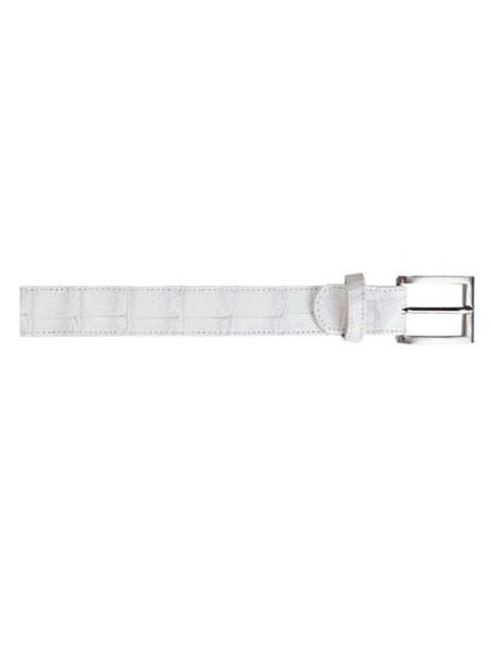 Belvedere attire brand All-Over Genuine Hornback Crocodile ~ Alligator skin Belt White