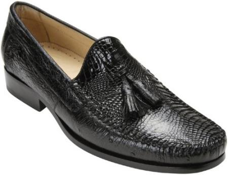 Product# PN82 Belvedere attire brand Bari Liquid Jet Black Genuine Alligator skin and Ostrich Skin loafer slip on shoe Shoes for Online With Tassels